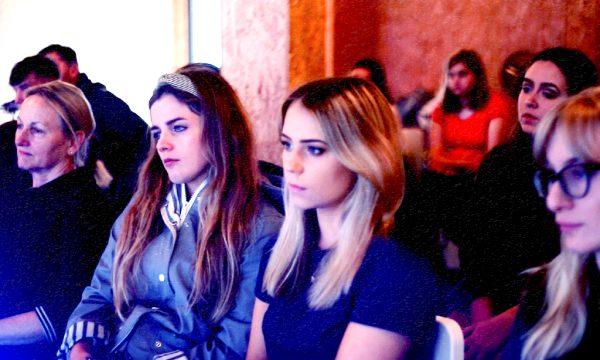 Generation W's Noirin Carmody (Revolution Software founder) alongside York university students at Spark