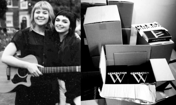 Left: Generation W's Jess Leo on the first day of Generation W student tour, in Leeds with musician Fran Minney Right: The first box of Generation W books.