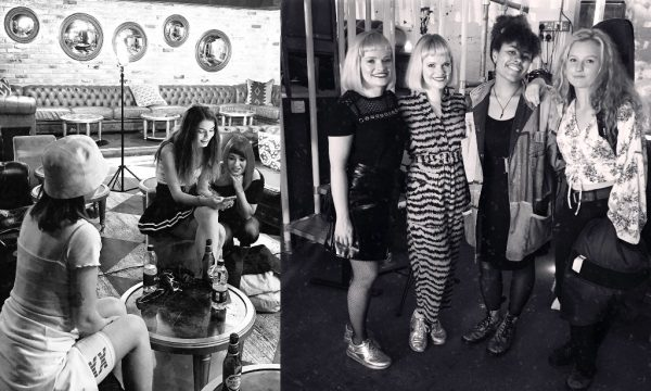 Left: Generation W's Mimi Gehin, Boudicca and Laura London behind the scenes in Mayfair, London at a Generation W promoshoot. Right: Talk Like Tigers and members of Sing Again Siren after performing at Generation W x Newcastle