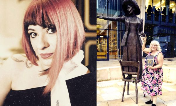 Left: Generation W's Laura London (at 18 was the youngest female magician inducted into Magic Circle) Right: Generation W's Joy France with a statue of Emmeline Pankhurst in Manchester, England