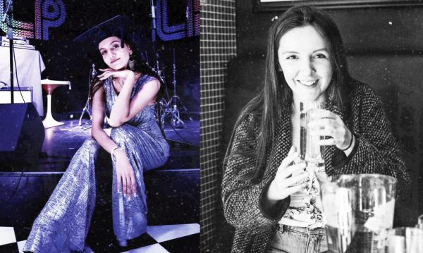 Left: Generation W's Diamantina at soundcheck at an Urban Kingdom show, on the same day she graduated. Right: Generation W's Pippa Ager enjoying the rider at an Urban Kingdom show.